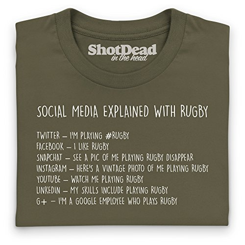 Social Media Explained - Rugby T-Shirt, Herren Olivgrn