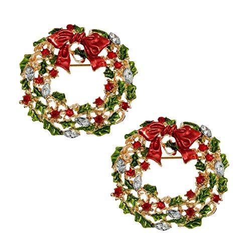 AUTULET Stilvolle Stifte Brosche für Frauen Runde Blume mit Bowknot Kristall Corsage Brosche Dekoration 2pcs Breastpin