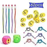Ucradle Biegebleistift Set (62-teilig) für Kinder - 40 Bunte Biegebleistifte + 20 Emoji Radiergummis + 2 Bleistiftanspitzer, Lustiges Spielzeug für Kinder