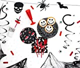 [OFERTA] Party Planet - Pack fiesta Halloween de 12 personas con accesorios decorativos y vajilla de plástico con diseño de vampiro y telaraña ideal para fiestas de disfraces - 12 personas