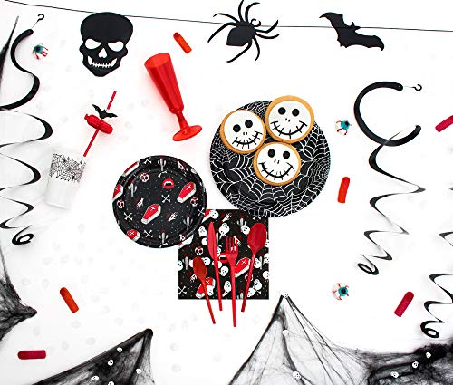 (Party Planet - Halloween Party Pack 12 Personen mit dekorativen Accessoire und Geschirr mit idealer Vampir-Design für Spaß und gruseligen Halloween-Parteien Cobweb - Spiel Einweg-Kunststoff-Geschirr für 12 Personen - 157 Stück ...)