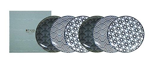 TOKYO design studio, Nippon Black, 6 Teller Set 16cm, Japan, rund, in dekorativer Geschenkbox. Vorspeisenteller Porzellan Set. Design Teller