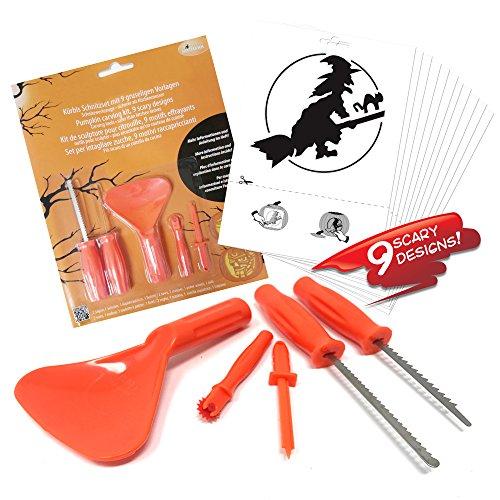 Halloween Kürbis Schnitzset – Werkzeug Set zum Schnitzen, deko set mit Schnitzmesser, Löffel, Bohrer, Nadelrad und 9 Schnitzvorlagen – (Halloween Schnitzen)