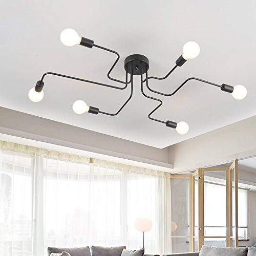 Plafoniera vintage OYI industriale lampada a sospensione creativa lampada a sospensione retrò con 6 portalampada E27 per soggiorno sala da pranzo bar caffetteria ristorante ecc