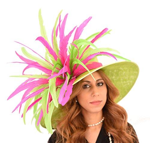 Superbe Longue Ascot Vert Feather pic chapeau Vert - Vert olive