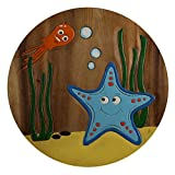 ART-CRAFT KH063 Kinderhocker Holz Schemel mit Motiv Seestern bemalt und beschnitzt extra große Sitzfläche Ø 30cm LxBXH = 30x30x27cm
