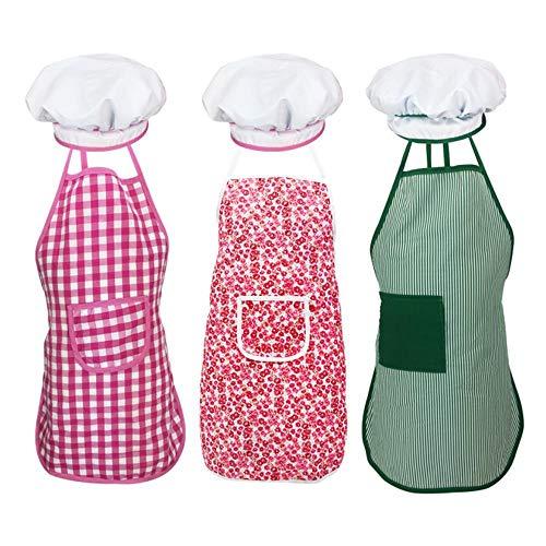 Mädchen Kleines Kostüm Koch - FOONEE Koch- und Backset für Kinder, 3PCS Schürze und Kochmütze für kleine Mädchen Jungen Küchenchef Rollenspiel Kostüm, Einstellbare Kochschürze für die Küche Backen Kochen Tragen