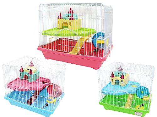 BPS® Käfig Hamster Chalet für Hamster mit Treppe Tränkebecken Radzylinder und Zuhause besonders hohe Qualität mehrfarbig Karamell farbe Versand zufällig 35* 26* 31cm bps-1341
