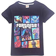 AILIENT Unisex Chico Chica T-Shirt Verano Fortnite Logo Game Icons Letras del Equipo Combat
