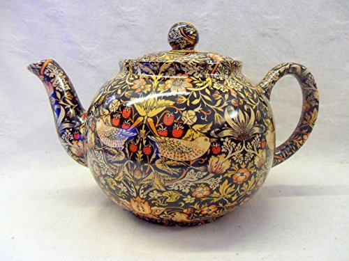 6 Cup Teapot In William Morris Strawberry Thief Design By Heron Cross Pottery.
