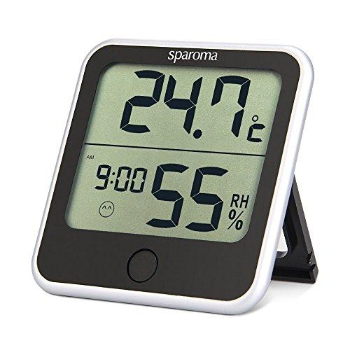 sparoma Thermo Hygrometer Zimmerthermometer Thermometer Fensterthermometer innen außen mit Uhrzeit im Schlafzimmer Babyzimmer zur Luftfeuchtigkeit -