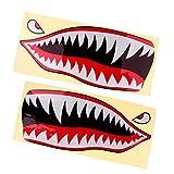 MagiDeal 2 Piezas Tiburón Dientes Boca Ojos Calcomanías Pegatinas Kayak Barco Pesca Gráficos Accesorios