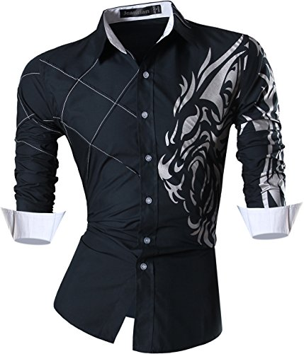 Jeansian Homme Chemises Casual Manches Longues Mode Men Tops Lion Tattoo Printing Fashion Slim Fit Dress Shirt Z030 Navy