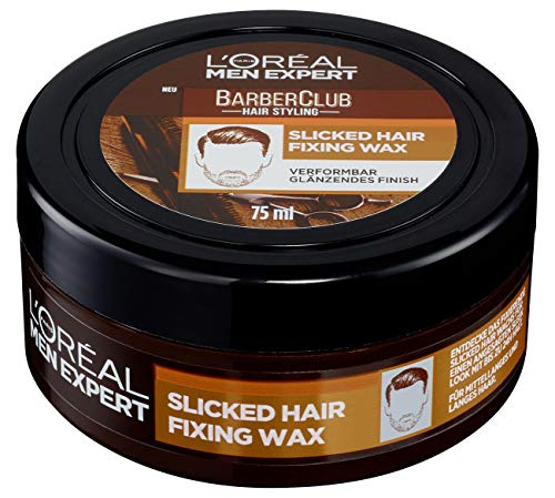 L\'Oréal Men Expert Barber Club Slicked Hair Fixing Wax: Haarwachs Styling Produkt; Sehr starker Halt; Männlicher Duft; Slick Look Frisur ohne verkleben, 75ml
