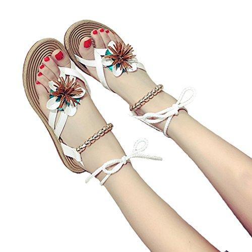 DM&Y 2017 moda femminile coreano imposta Sandali buffetto fiore decorazione perline scarpe cinghia White