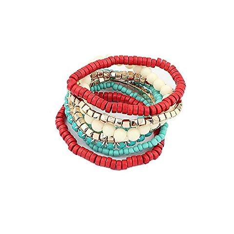 Lureme bohémien Beads Cube Multi Strand Étendue Bracelet Bracelet Stackable Set-rouge (bl003172-3)