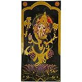 Bild Ganesha Lotus lila schwarz 100 x 50 cm Kunstdruck