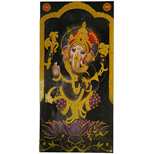 Bild Ganesha Lotus lila schwarz 100 x 50 cm Kunstdruck Plakat Poster Indien Hochglanz Dekoration - Ganesha-bild
