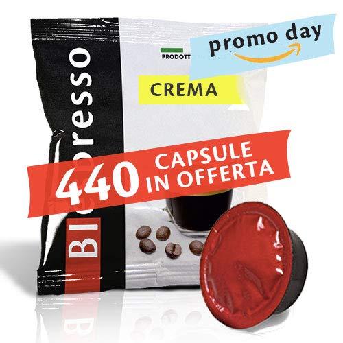 BIespresso 400 Capsule compatibil Lavazza a Modo Mio, 40 Capsule in Omaggio, caffè, Miscela Crema, Peso 3,5 kg, Produzione Italiana