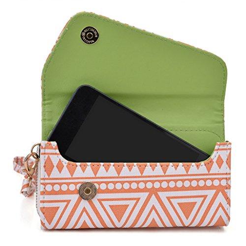 Kroo Pochette/Tribal Urban Style Téléphone Coque pour Samsung Galaxy S III mini Value Edition Noir/blanc White and Orange