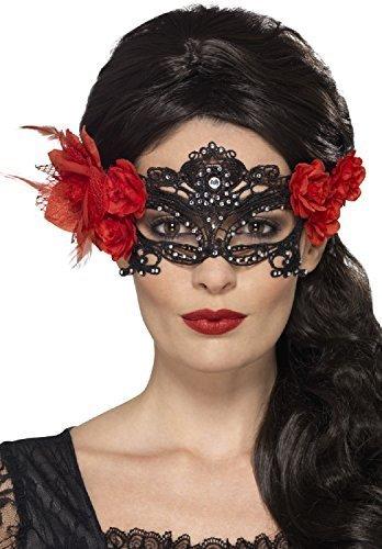 rze Spitze mit Strass & Rote Rose filigrane Maskerade Halloween Tag der Toten Zuckerschädel Karnevalskostüm Augen Maske (Tag Der Toten Maskerade Maske)