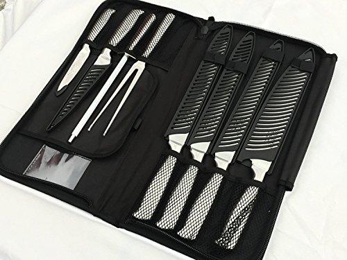 Ross Henery Coffret débutant de 8 Couteaux de Chef Ross Henery, Couteaux de Cuisine Professionnels en Pleine Soie avec Baguette d'aiguisage dans Un étui de Transport à Fermeture à glissière