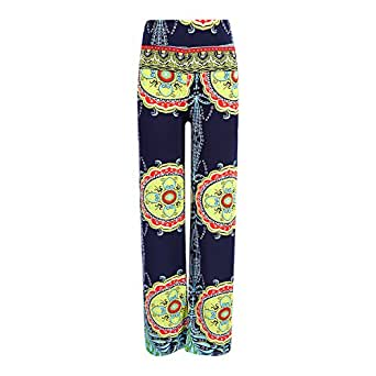 Chnli Women High Waist Casual Flare Wide Leg Long Yoga Pants Floral Printed Palazzo Baggy Trousers