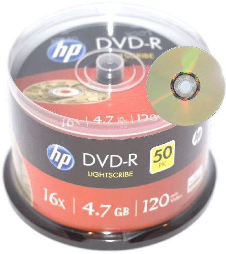 dvd brenner mit lightscribe HP DVD-R Rohlinge (16x Speed, 4,7 GB Lightscribe, 50-er Spindel)