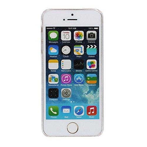 iPhone 5S SE Coque, Licorne Horloge Motif Flowable Sable Liquide Eau Clair Transparent PC Plastique Dur Housse de protection Case pour Apple iPhone 5 5S 5G SE gris-