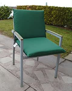 Zippy Waterproof Low Back Armchair Chair Cushion - Garden Furniture - Plain Green