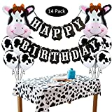 Amycute 13 Stücke Geburtstag Party Dekoration Happy Birthday Girlande Cow Luftballons Tier Folienballons Kuh Tischdecke für Kinder Geburtstag Kinderzimmer Kindergarten Dekoration.