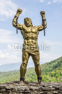 "Alu-Dibond-Bild 60 x 90 cm: ""Statue of Prometheus with Broken Chain"", Bild auf Alu-Dibond"