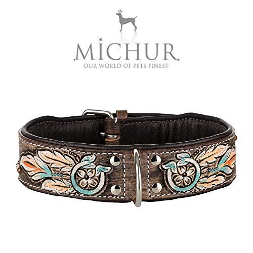 MICHUR Halona Hundehalsband Leder, Lederhalsband Hund, Halsband, Leder, Indianer, Schwarz Braun, in verschiedenen Größen erhältlich (Leder Hund Halsband Und Leine)