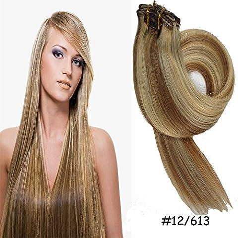Queen Wig Clip in Haarverlaengerung Echthaar Extensions 45cm 7 Stueck 70g #12/613 Licht Braun/Bleichmittel Blonde