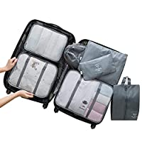 7 Set Travel Storage Bags, Womdee Waterproof Travel Storage Bags Clothes Packing Cube Luggage, Packing Organizers Compression Tidy Pouches for Travels, Trips, Home Storage, Grey