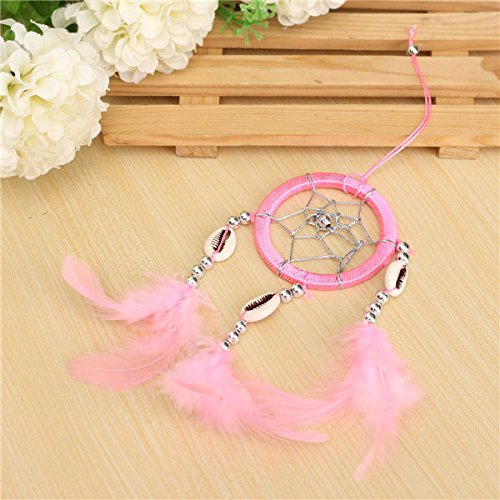 Bluelover Pura fantasia piume anello Wind Chime Dream Catcher Campanula appeso ornamento - rosa - Rosa Dreamcatcher