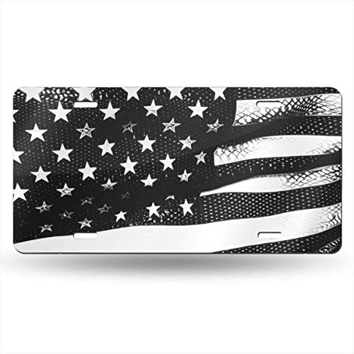 Ganheuze Black and White American Flag Waves License Plate Car Auto Tag Aluminum Personalized Metal Sign for Car Decoration White American White Plate