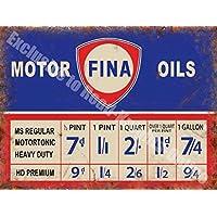 Fina Motore Olio Prezzo Il grafico Olio Benzina Vecchio Garage Vintage Annuncio Metallo/Targa Da Parete In Acciaio - 30 x 40 cm
