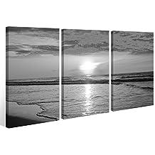 Cuadro de 3 partes Negro blanco puesta de sol Playa Sol Mar- 9A359 madera- Acabado con marco- directo del fabricante - 120x80cm (3Stk 40x 80cm)