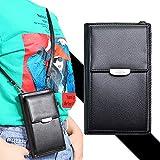 1PC Mujeres PU bolso crossbody bolsa del teléfono del teléfono celular monedero con cremallera embrague Cartera Pequeña Crossbody del bolso de hombro Negro