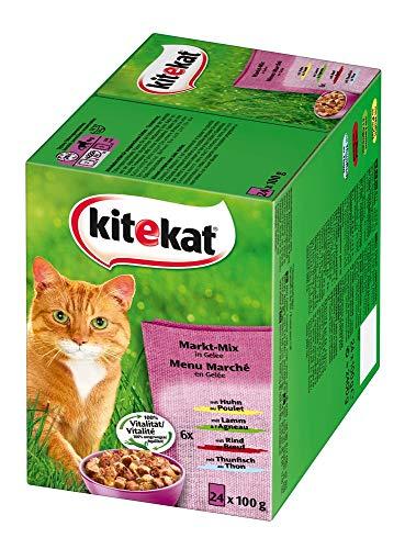 Kitekat Katzenfutter Nassfutter Adult für erwachsene Katzen Markt Mix in Gelee, 48 Portionsbeutel (2 x 24 x 100g) - 4