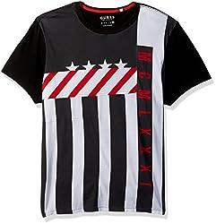 GUESS Mens Color Moto T-Shirt, Jet Black/Multi, M