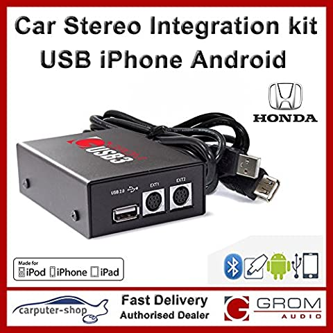Grom Audio (USB3) USB Android iPhone car stereo integration kit for Honda (older) - supports Apple Lightning connector. Civic Jazz Integra Prelude S2000