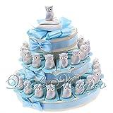 Bomboniere Nascita Battesimo Primo Compleanno Bimbo Torta con Statuina Gufo Azzurro in Porcellana (35 Pezzi)