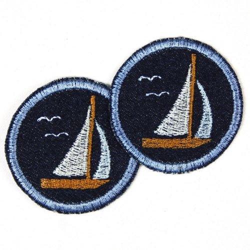 2er Set trendige Applikation / Flicken Maritim Segelboot hellblau rund 5,0 cm