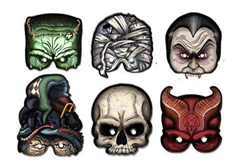 Monster Schädel Maske - ALMACENESADAN 2351; Pack 6 Monster-Masken; ideal