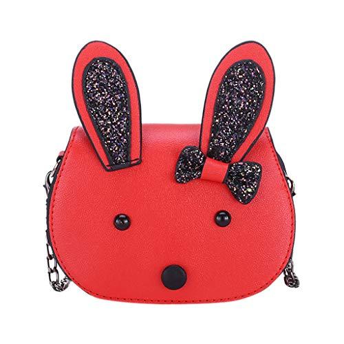 Dorical Umhängetasche für Kinder Süß Rabbit Kindertasche, Klein Messenger Handtasche Schultertasche, für Kinder, Mädchen, aus PU-Leder, für 3-12 Jahre geeignet Ausverkauf(Rot)