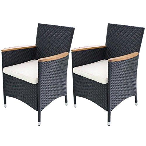 Festnight 2er Set Polyrattan Gartenstuhl Dining Sessel mit Kissen Schwarz 59 x 60 x 88 cm