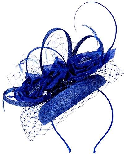 Jacques Vert Women's Cascade Flower Pill Box Headband, Blue, One Size