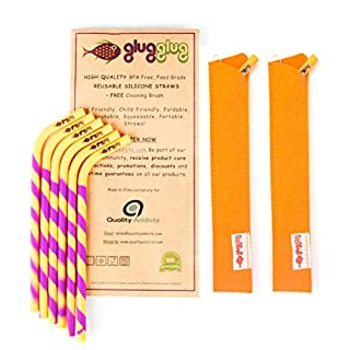 glugglug PREMIUM Reusable Silicone Straws BPA Free Standard Width Complete Bundle: 6 Straws + 2 Brushes + 2 Sleeves +FREE JUICING eBook! Durable Safe for Kids Soft Strong Flexible for Cold Hot Drinks